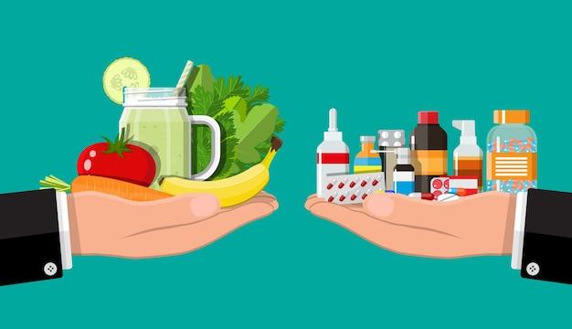 Scale di mani con verdure e droghe. scelta tra pillole dimagranti e cibo sano. illustrazione vettoriale in stile piatto