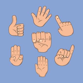 Mani che mostrano le dita