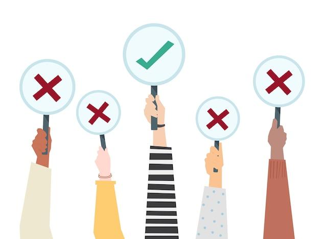 Le mani che mostrano l'icona di voto votano l'illustrazione