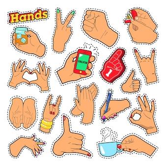 Segni di mani con ok victory rock per stampe, stemmi, toppe, adesivi. doodle di vettore