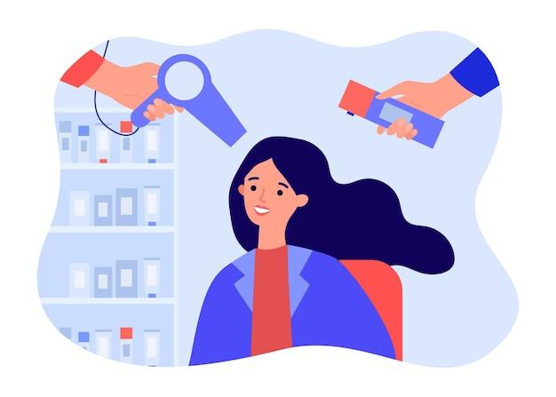 Mani di stilisti che fanno acconciatura alla donna nel negozio di barbiere. parrucchiere che tiene asciugacapelli, lacca per capelli piatta illustrazione vettoriale. concetto di salone di bellezza per banner, design di siti web o pagine web di destinazione
