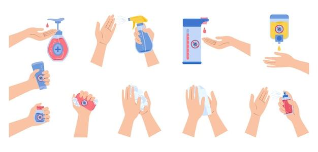 Le mani usano disinfettante spray, sapone per lavaggio, set di cartoni animati per virus covid, flaconi disinfettanti per disinfezione piatti per coronavirus, raccolta di gel antisettico