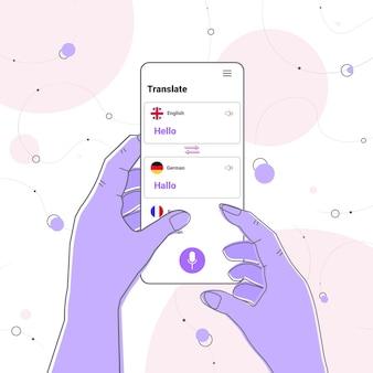 Mani utilizzando l'applicazione di traduzione mobile saluto multilingue comunicazione internazionale dizionario online concept