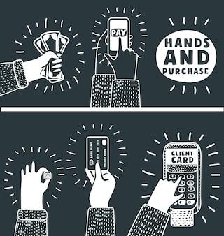 Mani che utilizzano tablet cellulare e computer in diverse situazioni che fanno shopping guardando video mentre lavorano