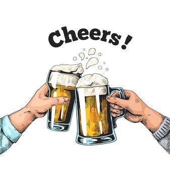 Mani con illustrazione di boccali di birra