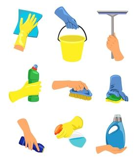 Mani con illustrazione dell'attrezzatura per la pulizia