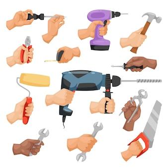 Mani con strumenti di costruzione in stile cartone animato