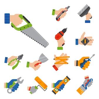 Mani con l'illustrazione del tuttofare di rinnovamento della casa dell'attrezzatura del lavoratore degli strumenti della costruzione.