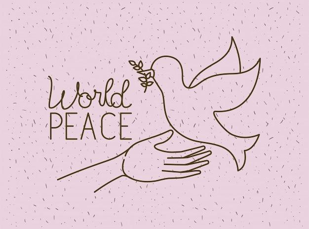 Mani con pace mondiale colomba