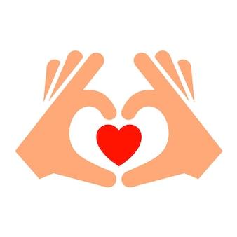 Mani con nuova icona del cuore, silhouette bicolore,