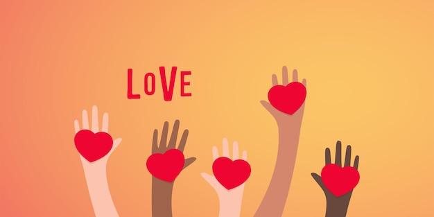 Mani con illustrazione a forma di cuore