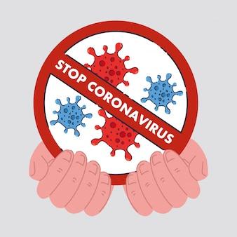 Mani con icona di cellule di coronavirus nel segno proibito, concetto stop coronavirus 2019 ncov