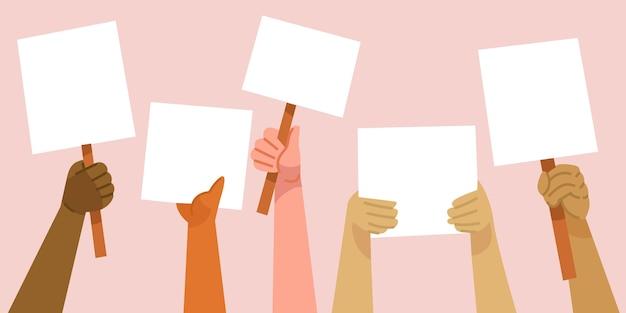 Mani con il concetto di cartelli