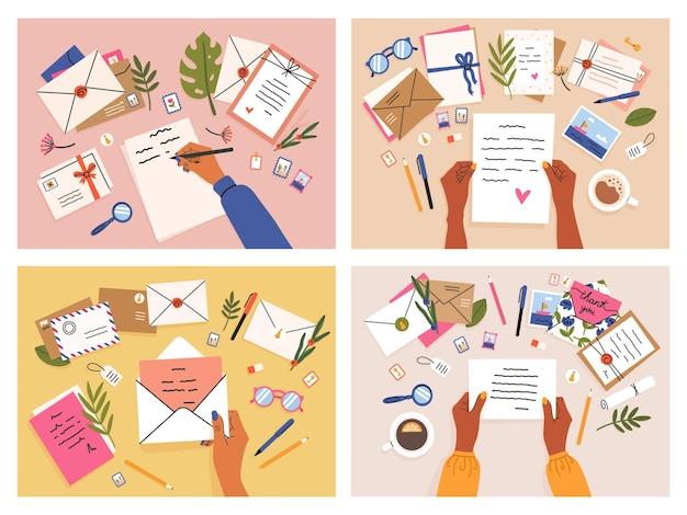 Mani con cartoline e lettere. buste, cartoline e lettere vista dall'alto, ragazze scrivono, inviano e leggono