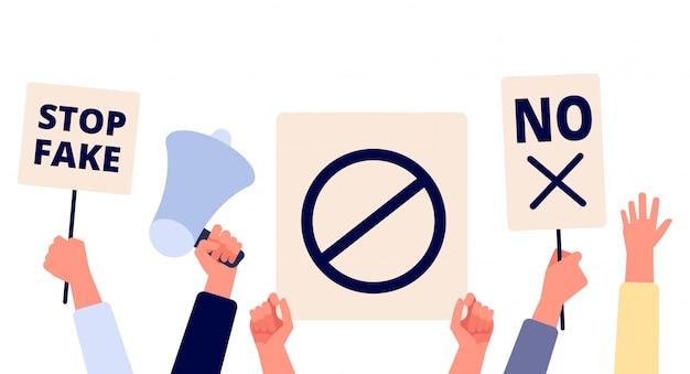 Mani con cartelli di protesta. persone che tengono striscioni politici, attivisti con segni di manifestazione di sciopero. concetto di vettore di diritto umano