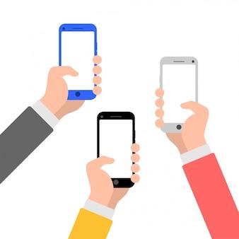 Mani con l'illustrazione piana di stile dello smartphone