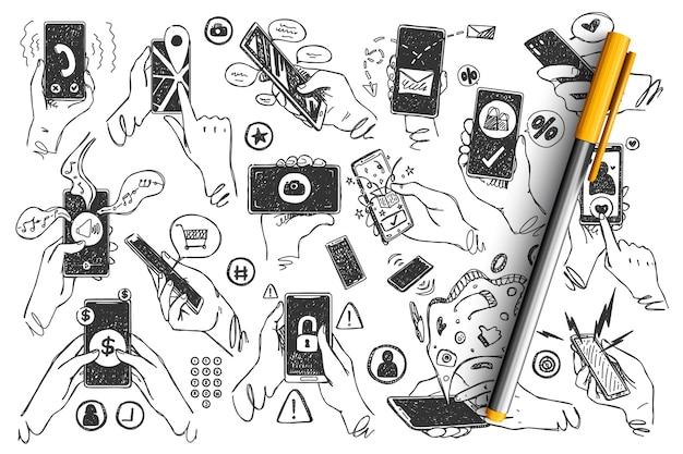 Mani con smartphone doodle insieme. i palmi umani disegnati a mano tengono le immagini del touchscreen dei telefoni cellulari