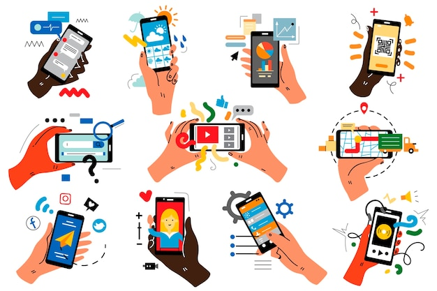 Mani con smartphone doodle insieme.