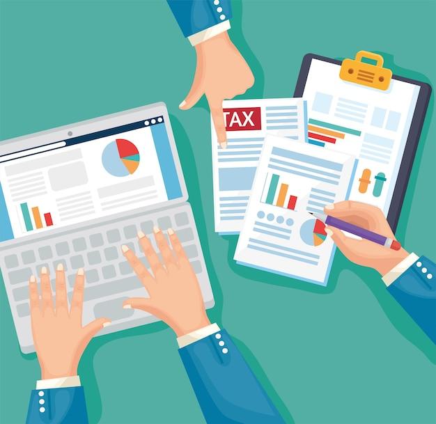 Mani con documento fiscale e laptop