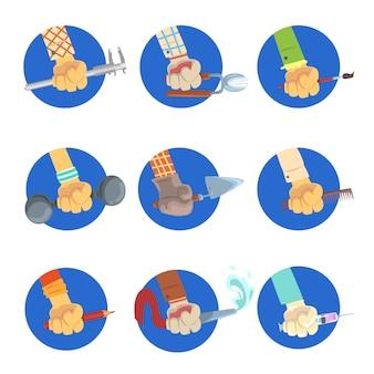 Mani con set di strumenti, equipaggia la mano con il simbolo della professione, lavori avatar illustrazioni su sfondo bianco