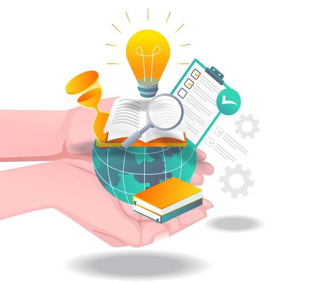 Mani con il mondo dell'istruzione in alto