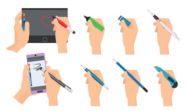 Mani che scrivono. scrittori che tengono gli strumenti del fumetto della matita e della penna.