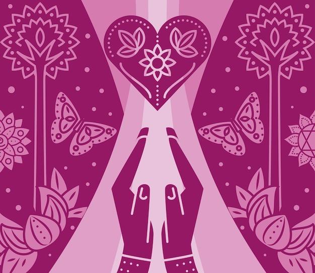 Fondo di meditazione pacifica di yoga delle mani