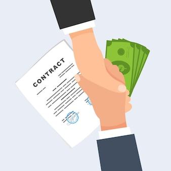 Stretta di mano su contratti e denaro. illustrazione vettoriale piatto.