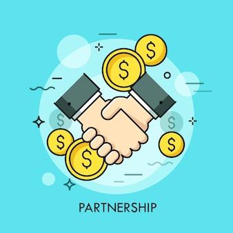 Stretta di mano e monete del dollaro. partnership commerciale, cooperazione efficace e vantaggiosa, definizione di accordi, concetto di accordo.