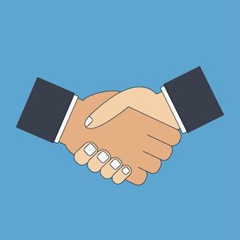 Icona piatta stretta di mano agitare le mani saluto gesto di partnership di rispetto comprensione
