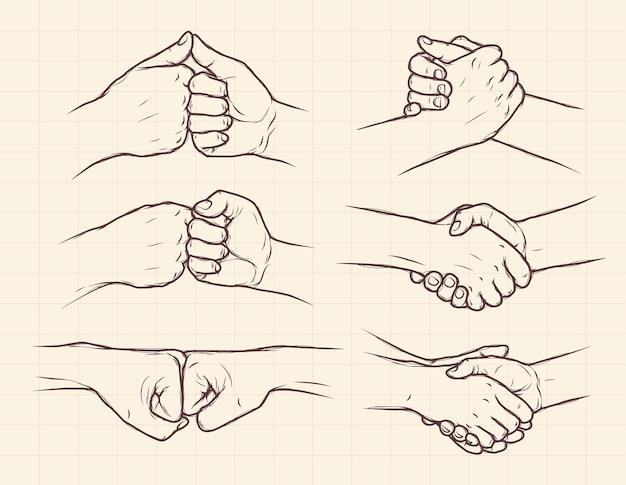 Insieme di raccolta disegnata a mano della stretta di mano
