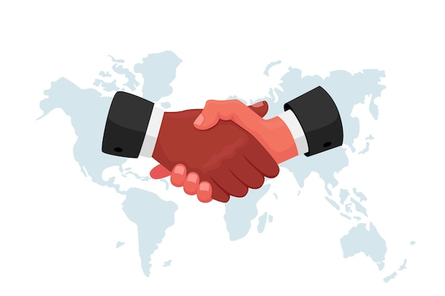 Stretta di mano, negoziati internazionali, concetto di riunione politica, mani di pelle scura e bianca in abiti formali che agitano alla mappa del mondo