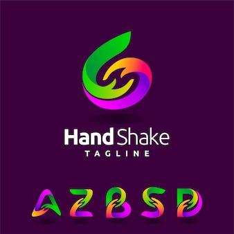 Logo della stretta di mano con forma multipla