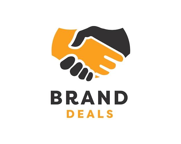 Logo della stretta di mano. due mani fanno un'illustrazione di vettore del logo di affare.