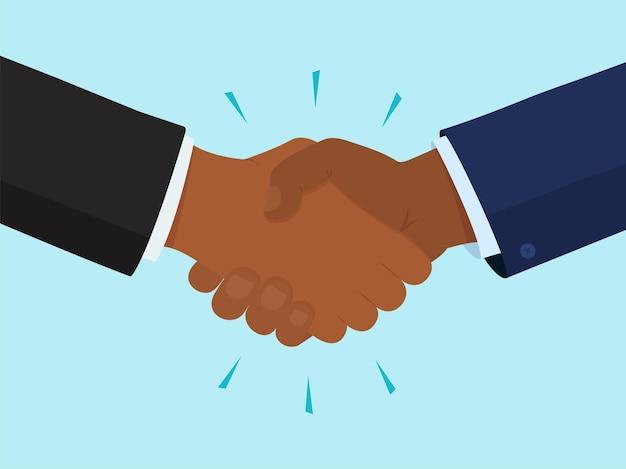 Icona di vettore della stretta di mano, due mani nere, concetto di amicizia e partenariato. gesto