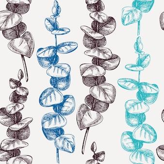 Modello senza cuciture di eucalipto abbozzato a mano rami di gomma blu con schizzi di foglie