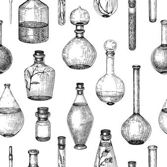 Collezione di attrezzature in vetro disegnato a mano per la profumeria e la produzione di cosmetici