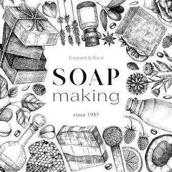 Disegno del telaio del sapone abbozzato a mano ingredienti aromatici templ per cosmetici profumeria sapone Vettore Premium