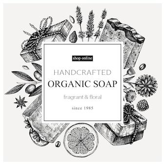 Disegno del telaio del sapone abbozzato a mano ingredienti aromatici templ per cosmetici profumeria sapone