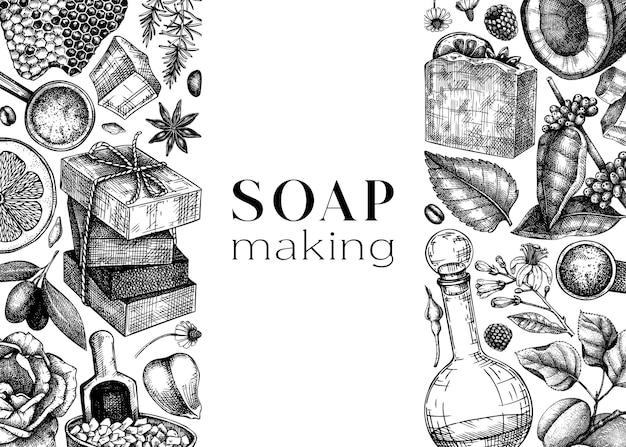 Sapone disegnato a mano senza cuciture sfondo di ingredienti naturali e materiali aromatici