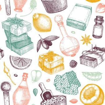 Sapone disegnato a mano modelli senza cuciture in ingredienti a colori e sfondo di materiali aromatici