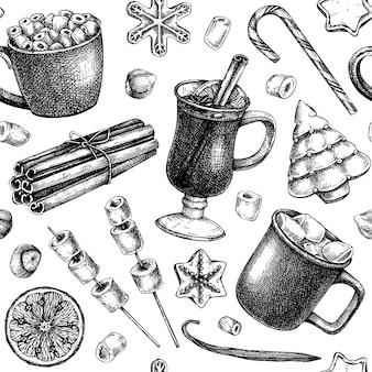 Sfondo di dolci invernali e bevande calde abbozzati a mano