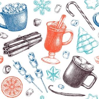 Sfondo di dolci invernali disegnati a mano e bevande calde
