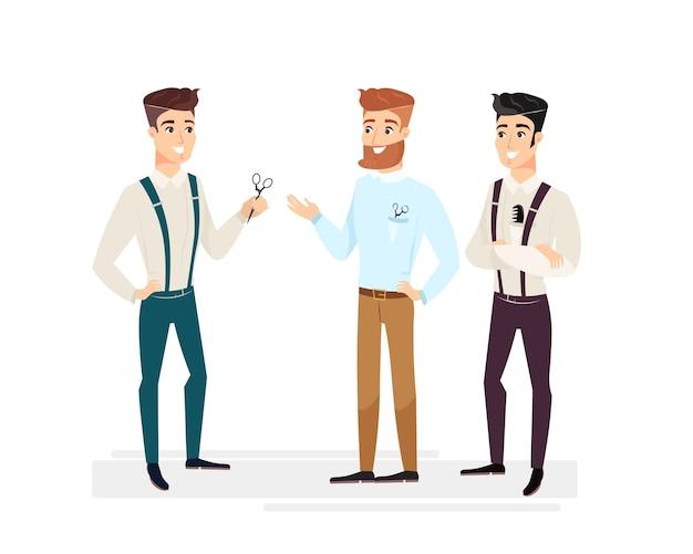 Bei barbieri. cartoon hipster barbiere uomini, capelli felici e sorridenti maestri uomini in stile cartone animato.