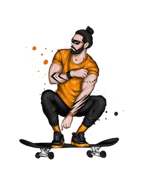 Bel ragazzo barbuto su skateboard