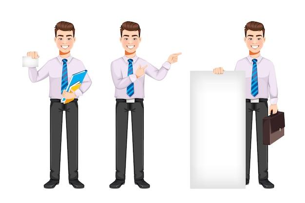 Un bell'uomo d'affari che fa pubblicità a qualcosa, un set di tre pose. personaggio dei cartoni animati di giovane uomo d'affari. stock illustrazione vettoriale su sfondo bianco