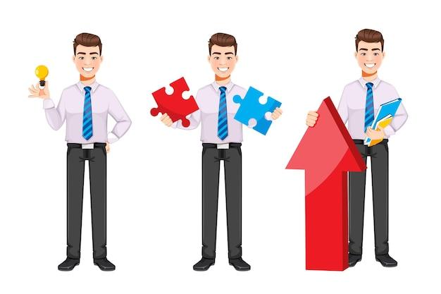 Bell'uomo d'affari, set di tre pose. personaggio dei cartoni animati di giovane uomo d'affari. stock illustrazione vettoriale su sfondo bianco