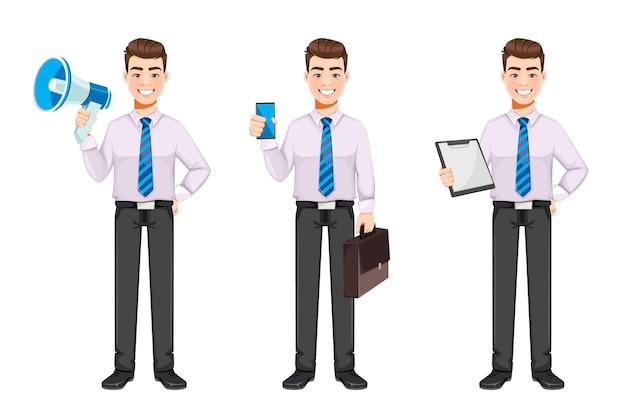 Uomo d'affari bello set di tre pose personaggio dei cartoni animati di giovane uomo d'affari