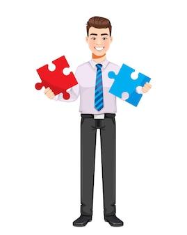 Uomo d'affari bello che risolve il problema personaggio dei cartoni animati di giovane uomo d'affari