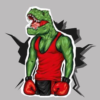 Un bel dinosauro con un corpo atletico. pugile.
